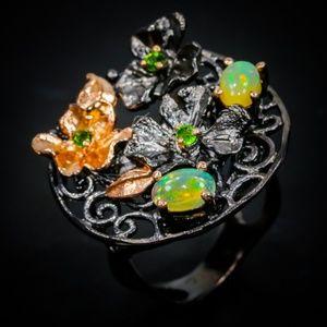 Opal & Peridot Artisan Sterling Ring